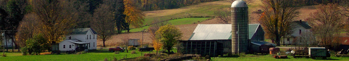 Panoramic image of farm in the Autumn